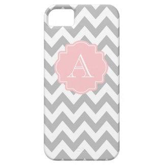 Monogramme rose-clair gris et blanc de Chevron Coques iPhone 5