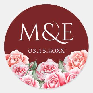 Monogramme rose de mariage de bouquet sticker rond