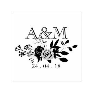 Monogramme rose de mariage de fleur tampon auto-encreur