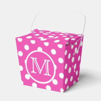 Monogramme rose et blanc de diva de polka de point boites faveurs de mariage