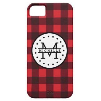 Monogramme rouge de nom de bûcheron de plaid de coque iPhone 5