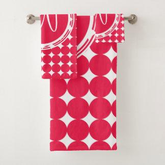 Monogramme rouge de point de polka