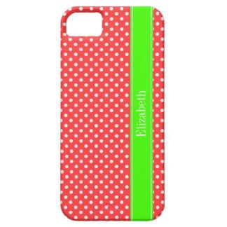 Monogramme rouge et blanc de corail de nom de vert coque iPhone 5 Case-Mate