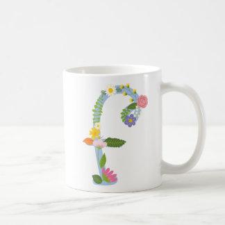Monogramme rustique de fleur de Boho (f) Mug Blanc