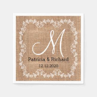Monogramme rustique de mariage de toile de jute serviette en papier
