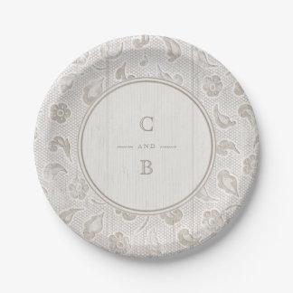 Monogramme rustique en bois de mariage campagnard assiettes en papier