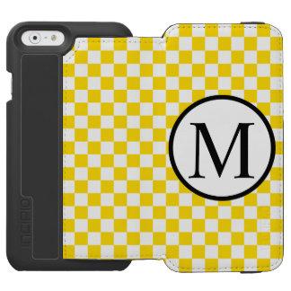 Monogramme simple avec le damier jaune coque-portefeuille iPhone 6 incipio watson™