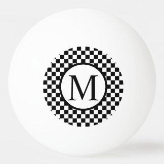 Monogramme simple avec le damier noir balle tennis de table