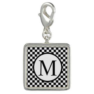 Monogramme simple avec le damier noir breloques avec photo