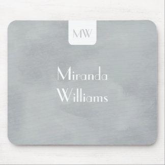 Monogramme simple avec le gris doux moderne nommé tapis de souris