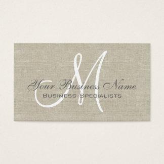 Monogramme simple simple gris de toile beige cartes de visite