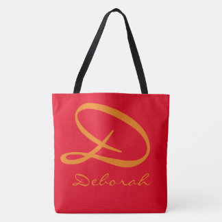 monogramme simple sur hot_red tote bag