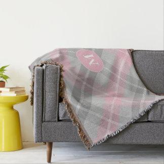 monogramme sur le plaid classique doucement rose couvre pied de lit