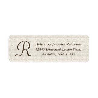 Monogramme texturisé rustique d'étiquette de nom étiquettes d'adresse retour