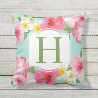 Monogramme tropical du motif de fleurs | coussins carrés