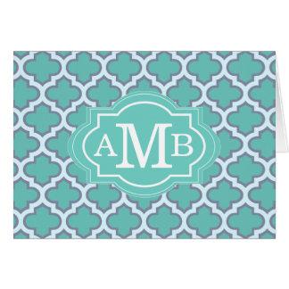 Monogramme turquoise élégant de coutume de motif carte de correspondance