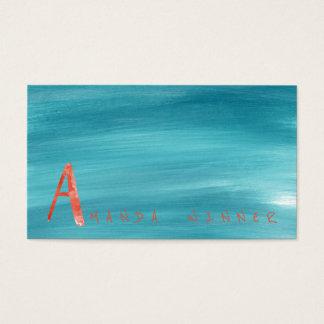 Monogramme une aquarelle aquatique de pastèque de carte de visite standard