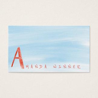 Monogramme une aquarelle bleue de pastèque de carte de visite standard