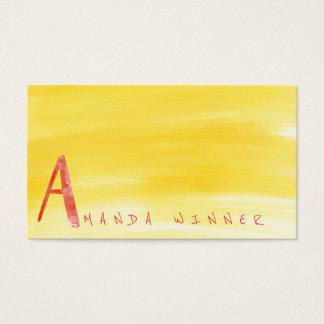 Monogramme une aquarelle de pastèque de citron de carte de visite standard