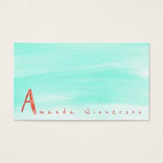 Monogramme une aquarelle de pastèque de menthe de carte de visite standard