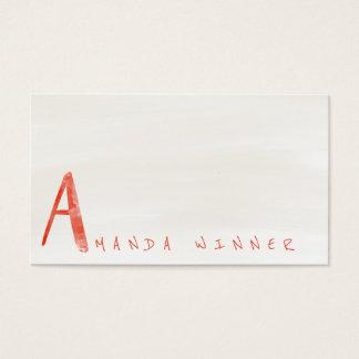 Monogramme une aquarelle ene ivoire de pastèque de carte de visite standard