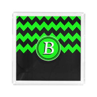 Monogramme vert et noir au néon de Chevron   Plateau En Acrylique