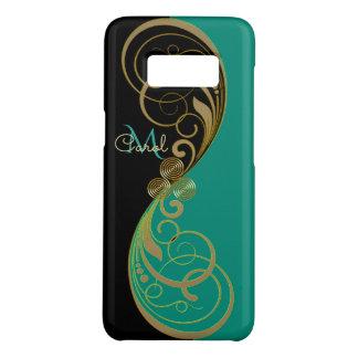 Monogramme vert turquoise de Triskele de Celtic Coque Case-Mate Samsung Galaxy S8