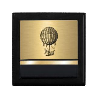 'Monogramme vintage élégant d'or de ballon de vol Boîte À Souvenirs