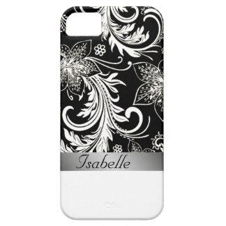 Monogramme vintage noir argenté floral avec du coques iPhone 5 Case-Mate