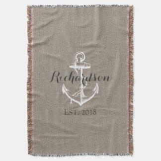 Monogramme vintage rustique de mariage d'ancre couverture