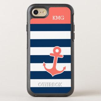 Monogrammes nautiques rayés d'ancre de marine de coque OtterBox symmetry iPhone 8/7