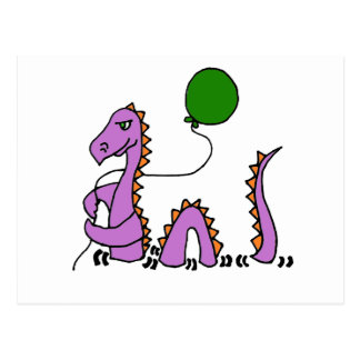 Monstre pourpre drôle de Loch Ness avec le ballon Carte Postale