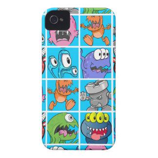 Monstres mignons sur l'arrière - plan bleu coque iPhone 4