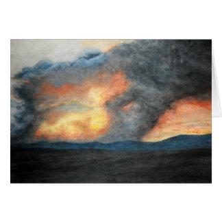 montagnes brûlantes (aquarelle) carte de correspondance