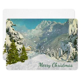 Montagnes vintages de carte de Noël de la Suisse