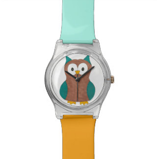 Montre animale de Brown bleu de hibou de hiboux