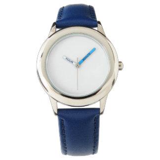Montre bleue de bracelet en cuir de l'acier