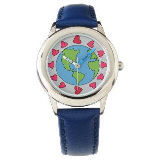 Montre bleue d'enfants de coeur de la terre 12 de montres bracelet
