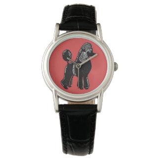 Montre-bracelet noire de rouge de caniche standard montres cadran