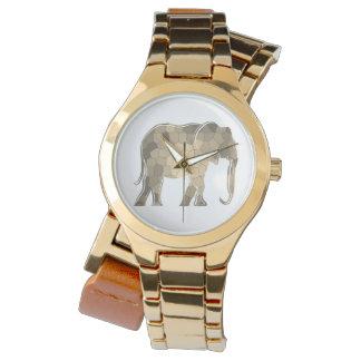 Montre Charme élégant de silhouette d'or d'éléphant