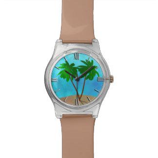 Montre Collage de scène de plage de palmier d'aquarelle