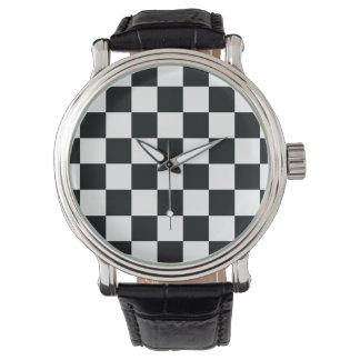 Montre Cool élégant chic d'échecs blancs noirs Checkered