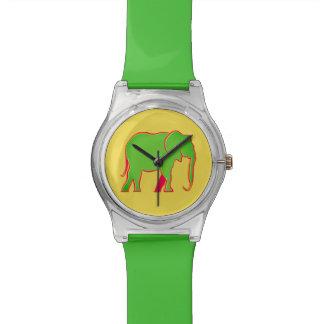 Montre Cool simple élégant de néon de silhouette verte