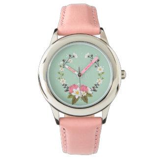Montre Custom Cuir spring flowers
