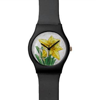 Montre D pour le monogramme floral de jonquille
