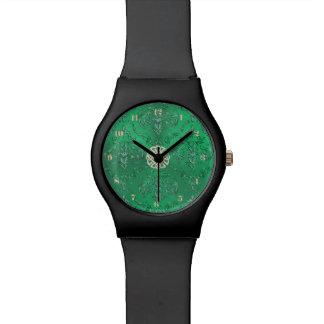 Montre Damassé verte irlandaise avec le noeud de Celtic