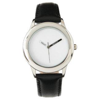 Montre de bracelet en cuir de noir d'acier montres cadran