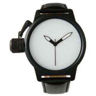 Montre de bracelet en cuir de noir de protecteur montres