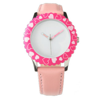 Montre de coeur de rose d'acier inoxydable, montres