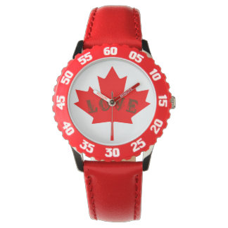 montre de feuille d'érable rouge de jour du Canada
